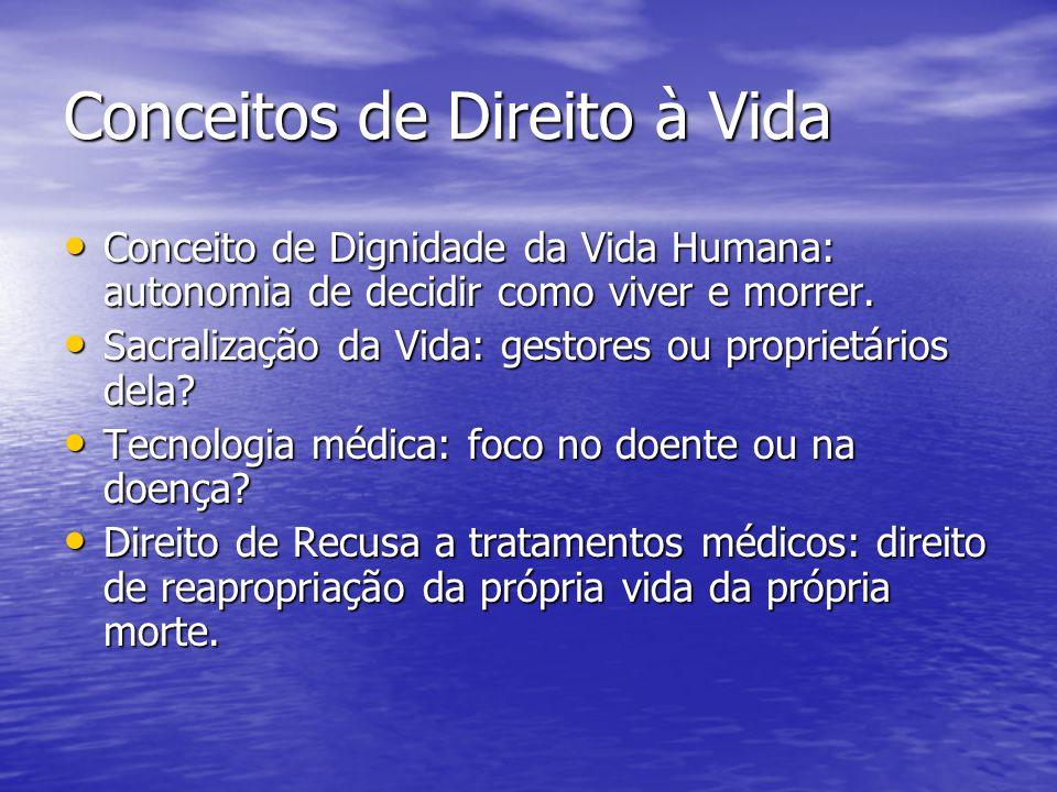 Conceitos de Direito à Vida Conceito de Dignidade da Vida Humana: autonomia de decidir como viver e morrer. Conceito de Dignidade da Vida Humana: auto
