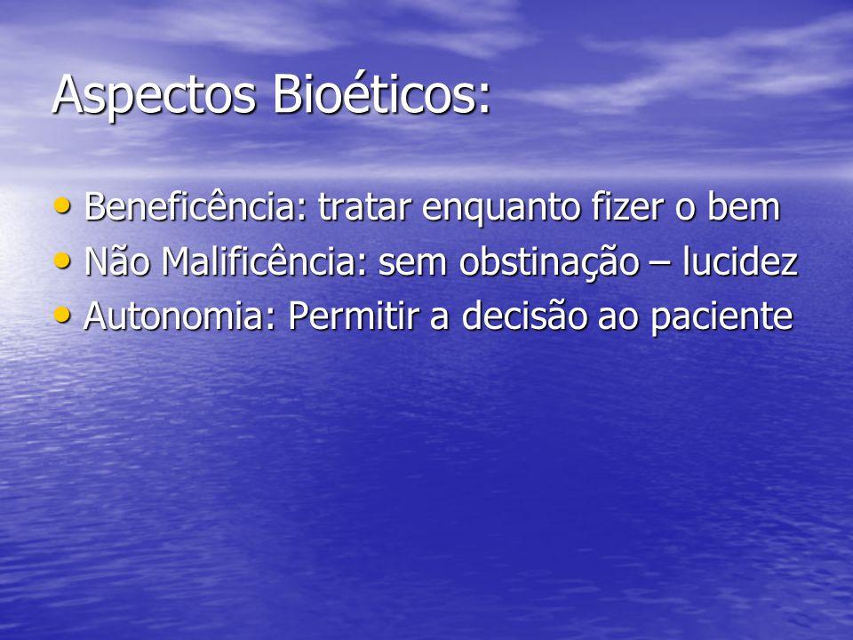 Aspectos Bioéticos: Beneficência: tratar enquanto fizer o bem Beneficência: tratar enquanto fizer o bem Não Malificência: sem obstinação – lucidez Não