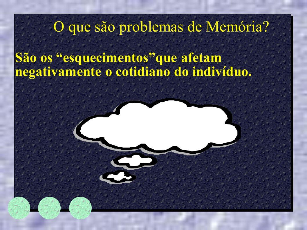 """O que são problemas de Memória? São os """"esquecimentos""""que afetam negativamente o cotidiano do indivíduo."""