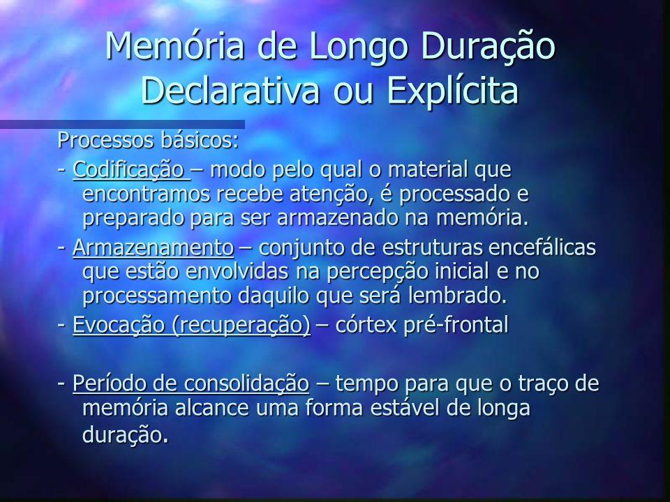 Memória de Longo Duração Declarativa ou Explícita Processos básicos: - Codificação – modo pelo qual o material que encontramos recebe atenção, é proce