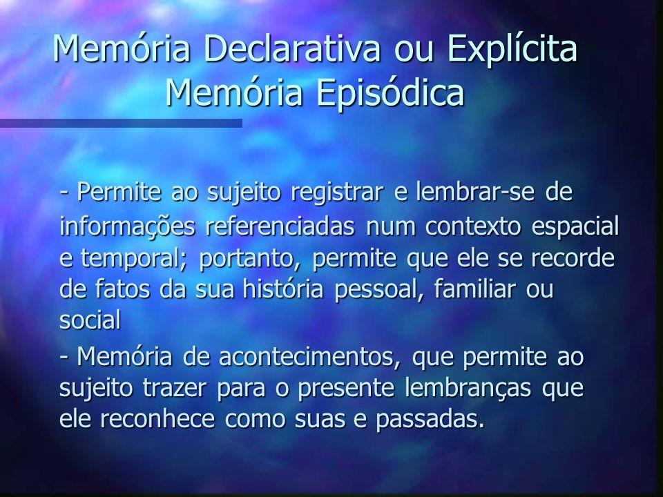 Memória Declarativa ou Explícita Memória Episódica - Permite ao sujeito registrar e lembrar-se de informações referenciadas num contexto espacial e te