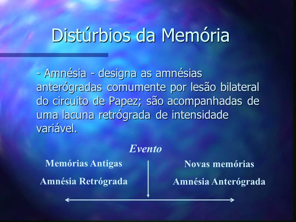 Distúrbios da Memória - Amnésia - designa as amnésias anterógradas comumente por lesão bilateral do circuito de Papez; são acompanhadas de uma lacuna