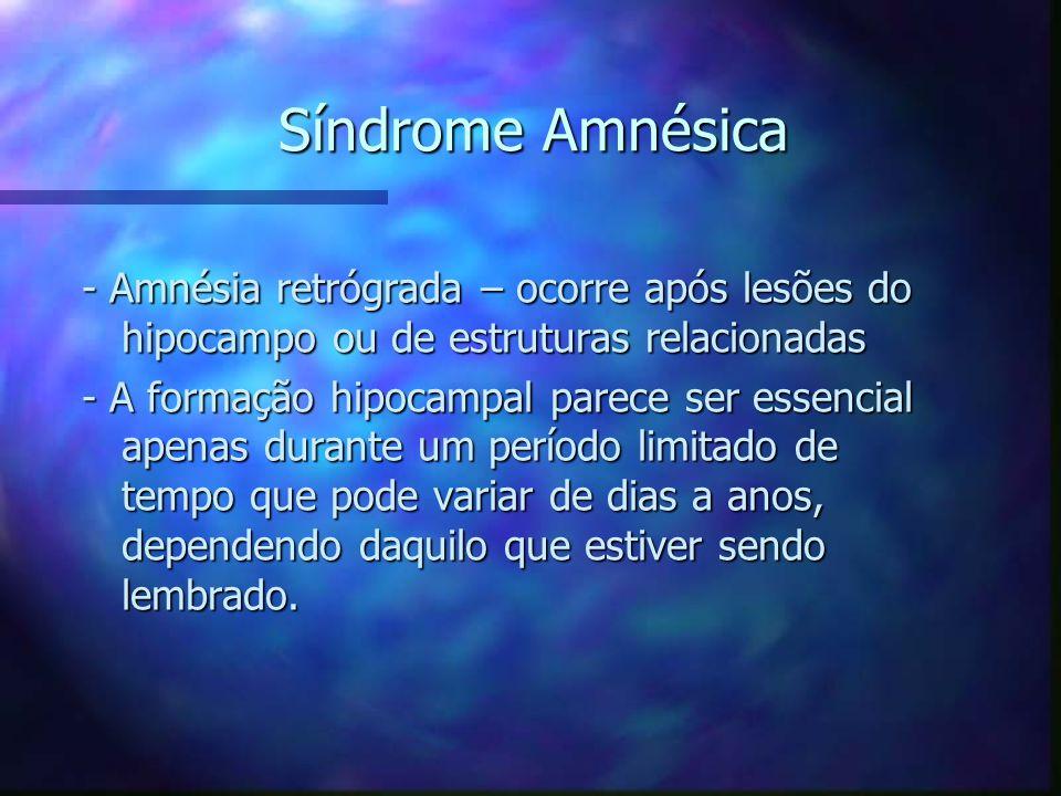 Síndrome Amnésica - Amnésia retrógrada – ocorre após lesões do hipocampo ou de estruturas relacionadas - A formação hipocampal parece ser essencial ap