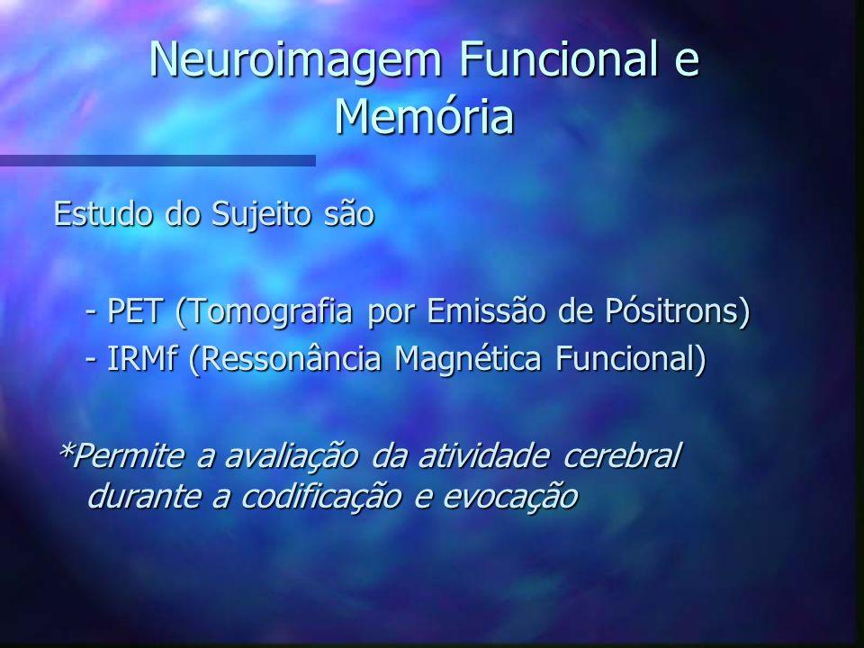 Neuroimagem Funcional e Memória Estudo do Sujeito são - PET (Tomografia por Emissão de Pósitrons) - PET (Tomografia por Emissão de Pósitrons) - IRMf (