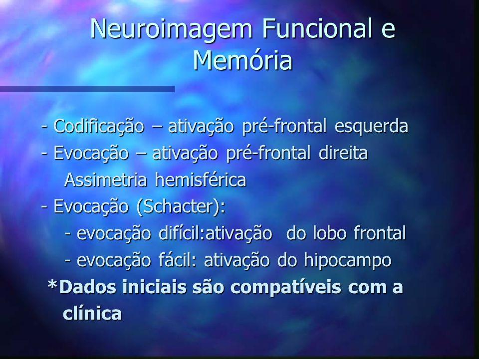 Neuroimagem Funcional e Memória - Codificação – ativação pré-frontal esquerda - Evocação – ativação pré-frontal direita Assimetria hemisférica Assimet