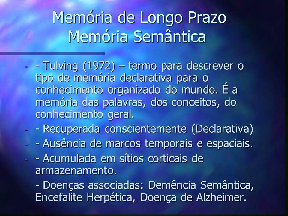 Memória de Longo Prazo Memória Semântica Memória de Longo Prazo Memória Semântica - - Tulving (1972) – termo para descrever o tipo de memória declarat