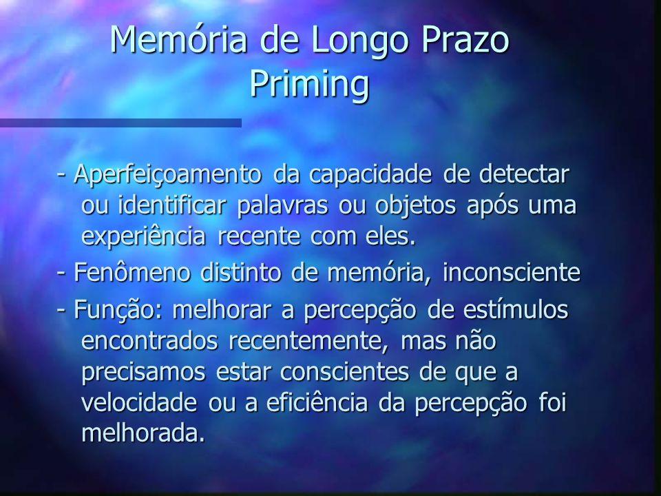 Memória de Longo Prazo Priming - Aperfeiçoamento da capacidade de detectar ou identificar palavras ou objetos após uma experiência recente com eles. -