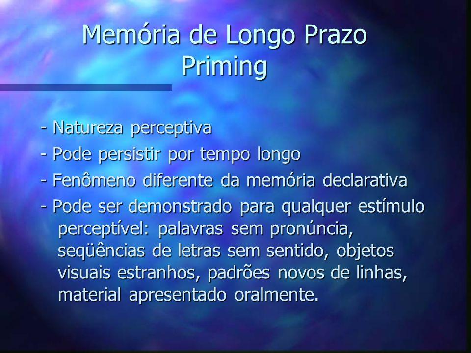 Memória de Longo Prazo Priming - Natureza perceptiva - Pode persistir por tempo longo - Fenômeno diferente da memória declarativa - Pode ser demonstra