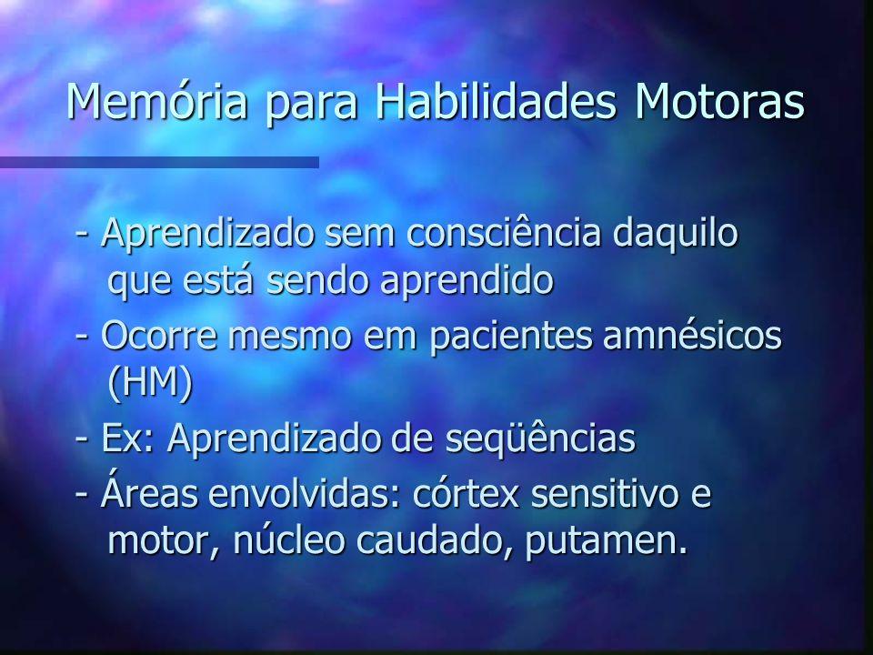 Memória para Habilidades Motoras - Aprendizado sem consciência daquilo que está sendo aprendido - Ocorre mesmo em pacientes amnésicos (HM) - Ex: Apren