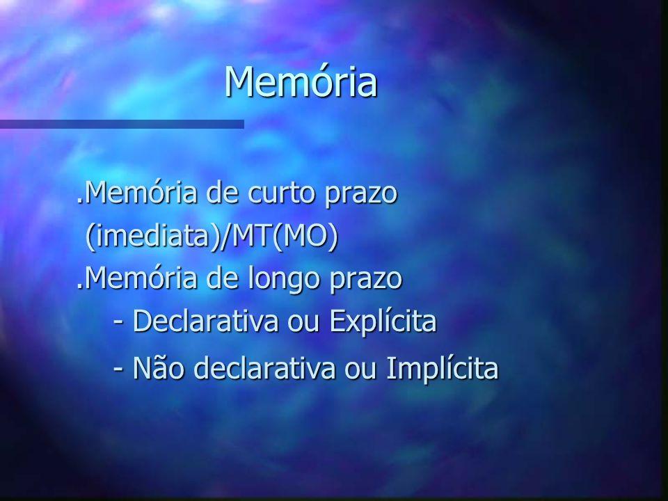 Memória.Memória de curto prazo.Memória de curto prazo (imediata)/MT(MO) (imediata)/MT(MO).Memória de longo prazo.Memória de longo prazo - Declarativa