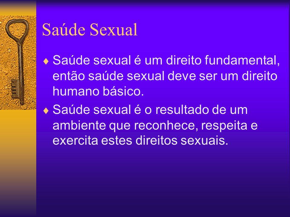 Direitos Sexuais  Liberdade Sexual  O DIREITO À AUTONOMIA SEXUAL, INTEGRIDADE SEXUALE E À SEGURANÇA DO CORPO SEXUAL  Privacidade sexual  Prazer Sexual  Expressão Sexual  Livre Associação sexual  ÀS ESCOLHAS REPRODUTIVAS LIVRE E RESPONSÁVEIS  À INFORMAÇÃO BASEADA NO CONHECIMENTO CIENTÍFICO  À EDUCAÇÃO SEXUAL COMPREENSIVA  A SAÚDE SEXUAL