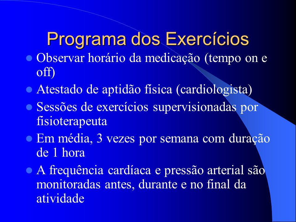 Programa dos Exercícios Observar horário da medicação (tempo on e off) Atestado de aptidão física (cardiologista) Sessões de exercícios supervisionada