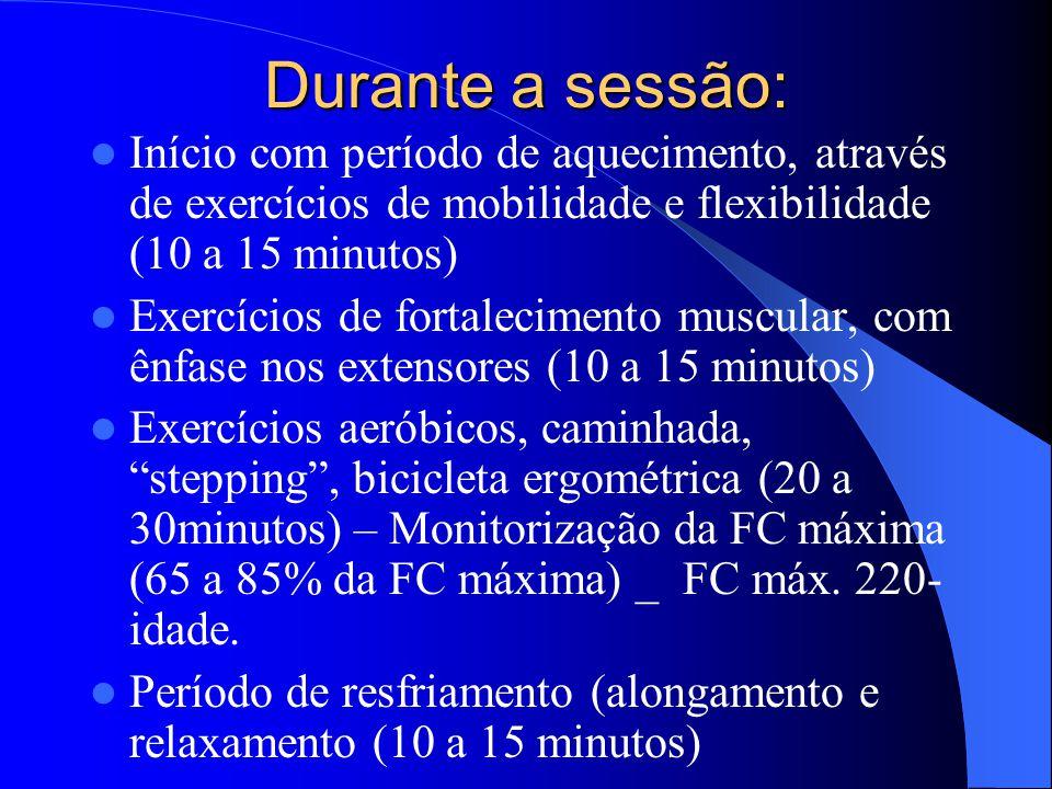 Durante a sessão: Início com período de aquecimento, através de exercícios de mobilidade e flexibilidade (10 a 15 minutos) Exercícios de fortaleciment