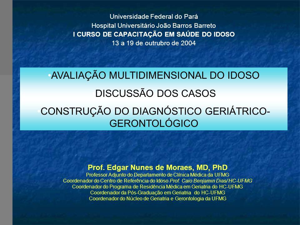 Universidade Federal do Pará Hospital Universitário João Barros Barreto I CURSO DE CAPACITAÇÃO EM SAÚDE DO IDOSO 13 a 19 de outrubro de 2004 Prof.