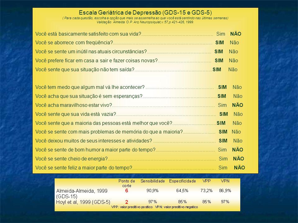 Escala Geriátrica de Depressão (GDS-15 e GDS-5) ( Para cada questão, escolha a opção que mais se assemelha ao que você está sentindo nas últimas semanas) Validação: Almeida O.P.