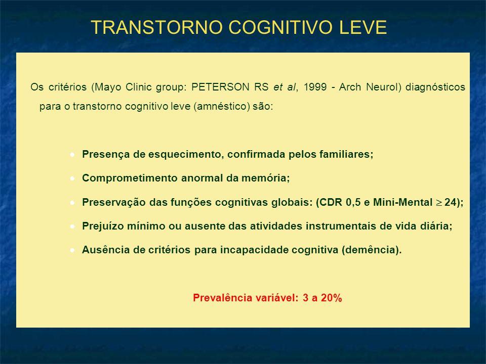 TRANSTORNO COGNITIVO LEVE Os critérios (Mayo Clinic group: PETERSON RS et al, 1999 - Arch Neurol) diagnósticos para o transtorno cognitivo leve (amnéstico) são:  Presença de esquecimento, confirmada pelos familiares;  Comprometimento anormal da memória;  Preservação das funções cognitivas globais: (CDR 0,5 e Mini-Mental  24);  Prejuízo mínimo ou ausente das atividades instrumentais de vida diária;  Ausência de critérios para incapacidade cognitiva (demência).