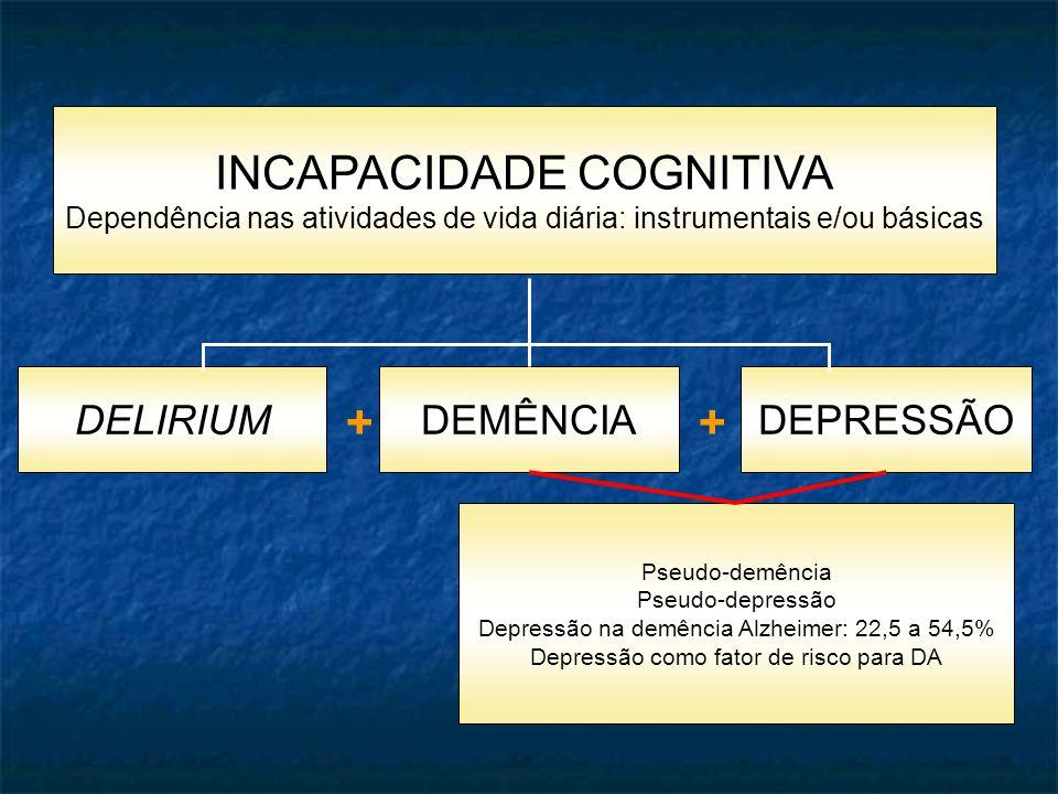 INCAPACIDADE COGNITIVA Dependência nas atividades de vida diária: instrumentais e/ou básicas DEMÊNCIADELIRIUMDEPRESSÃO ++ Pseudo-demência Pseudo-depressão Depressão na demência Alzheimer: 22,5 a 54,5% Depressão como fator de risco para DA