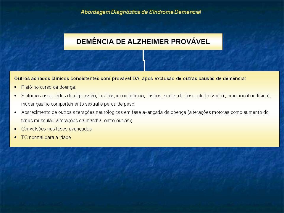 Abordagem Diagnóstica da Síndrome Demencial DEMÊNCIA DE ALZHEIMER PROVÁVEL