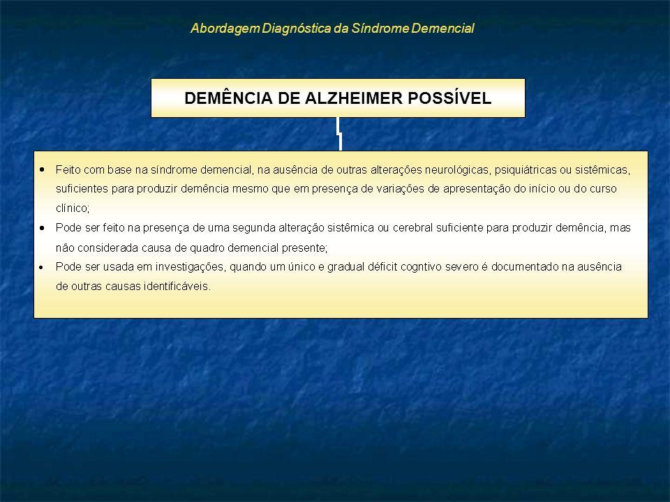 Abordagem Diagnóstica da Síndrome Demencial DEMÊNCIA DE ALZHEIMER POSSÍVEL