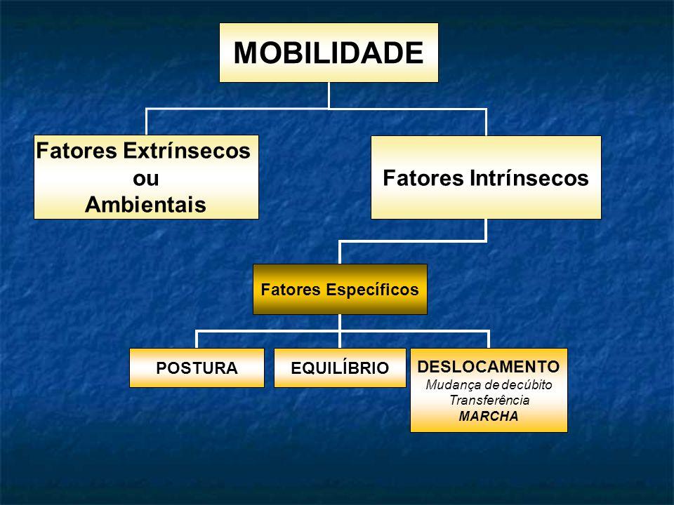 MOBILIDADE Fatores Extrínsecos ou Ambientais Fatores Intrínsecos Fatores Específicos POSTURAEQUILÍBRIO DESLOCAMENTO Mudança de decúbito Transferência MARCHA