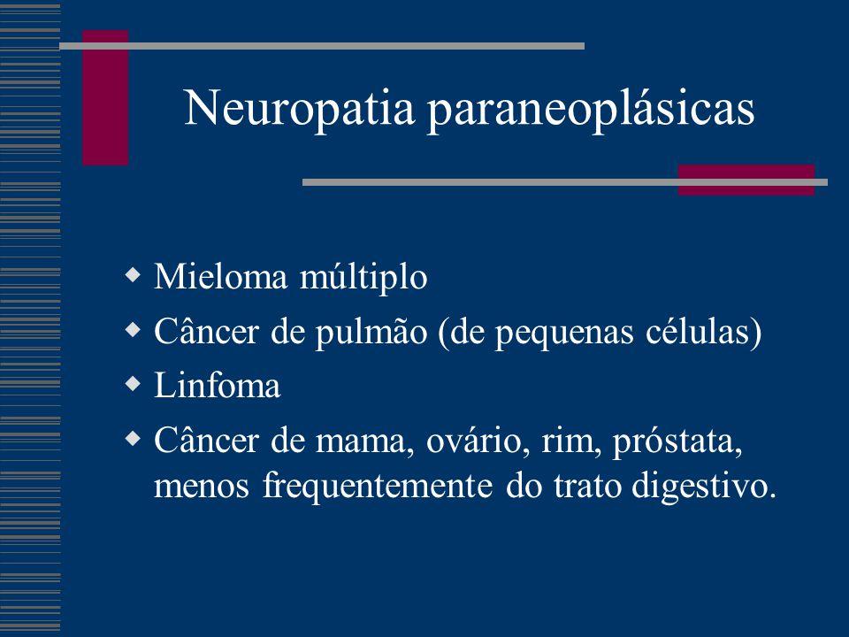 Neuropatia paraneoplásicas  Mieloma múltiplo  Câncer de pulmão (de pequenas células)  Linfoma  Câncer de mama, ovário, rim, próstata, menos frequentemente do trato digestivo.