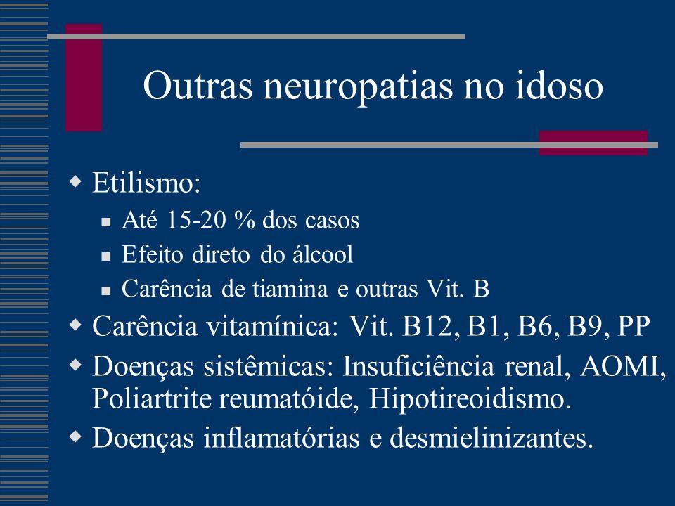 Outras neuropatias no idoso  Etilismo: Até 15-20 % dos casos Efeito direto do álcool Carência de tiamina e outras Vit. B  Carência vitamínica: Vit.