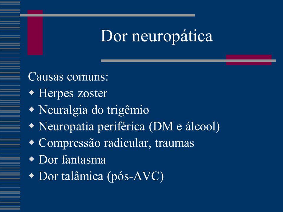 Dor neuropática Causas comuns:  Herpes zoster  Neuralgia do trigêmio  Neuropatia periférica (DM e álcool)  Compressão radicular, traumas  Dor fan