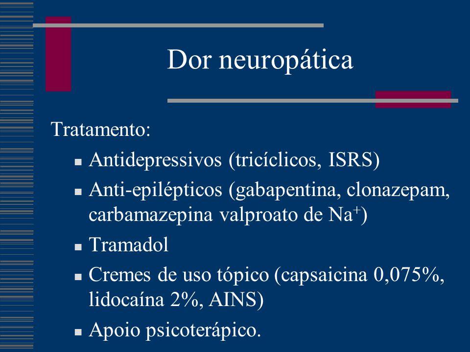 Dor neuropática Tratamento: Antidepressivos (tricíclicos, ISRS) Anti-epilépticos (gabapentina, clonazepam, carbamazepina valproato de Na + ) Tramadol