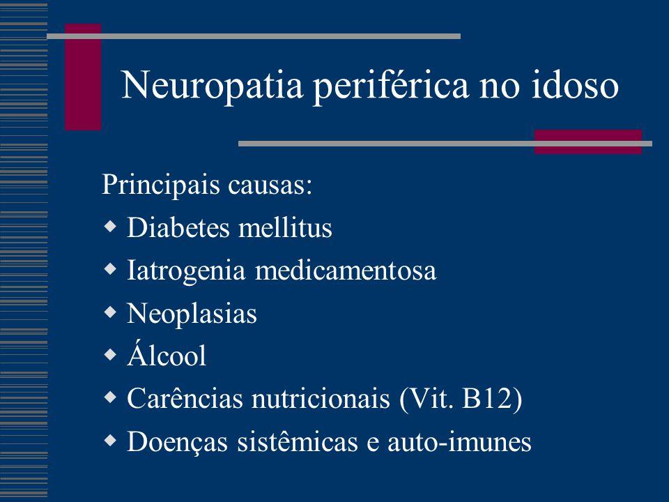 Neuropatia periférica no idoso Quadro clínico:  Modificação sensorial em meias ou luvas Parestesia Hipoestesia térmica ou álgica Hiperestesia / Dor  Déficit motor, parcial ou total c/ hipotonia.