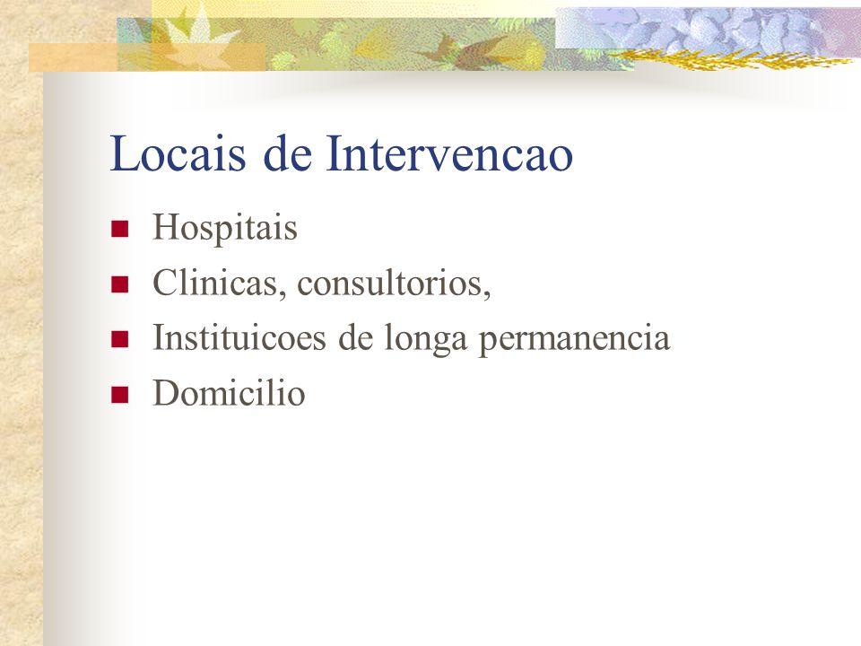 Locais de Intervencao Hospitais Clinicas, consultorios, Instituicoes de longa permanencia Domicilio