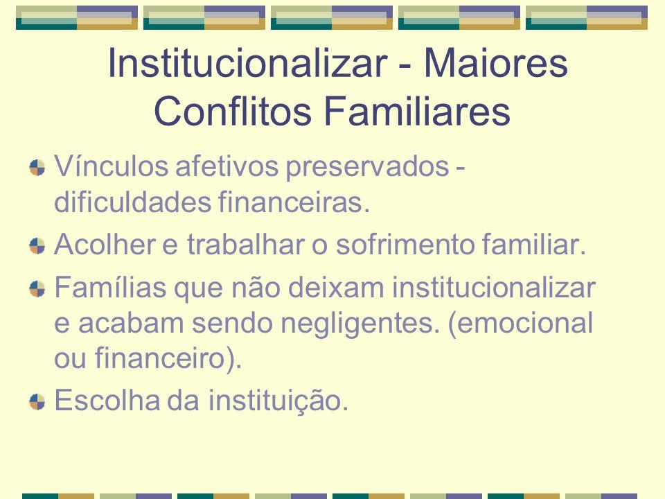 Institucionalizar - Maiores Conflitos Familiares Vínculos afetivos preservados - dificuldades financeiras. Acolher e trabalhar o sofrimento familiar.