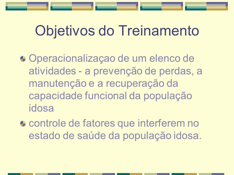 Objetivos do Treinamento Operacionalizaçao de um elenco de atividades - a prevenção de perdas, a manutenção e a recuperação da capacidade funcional da
