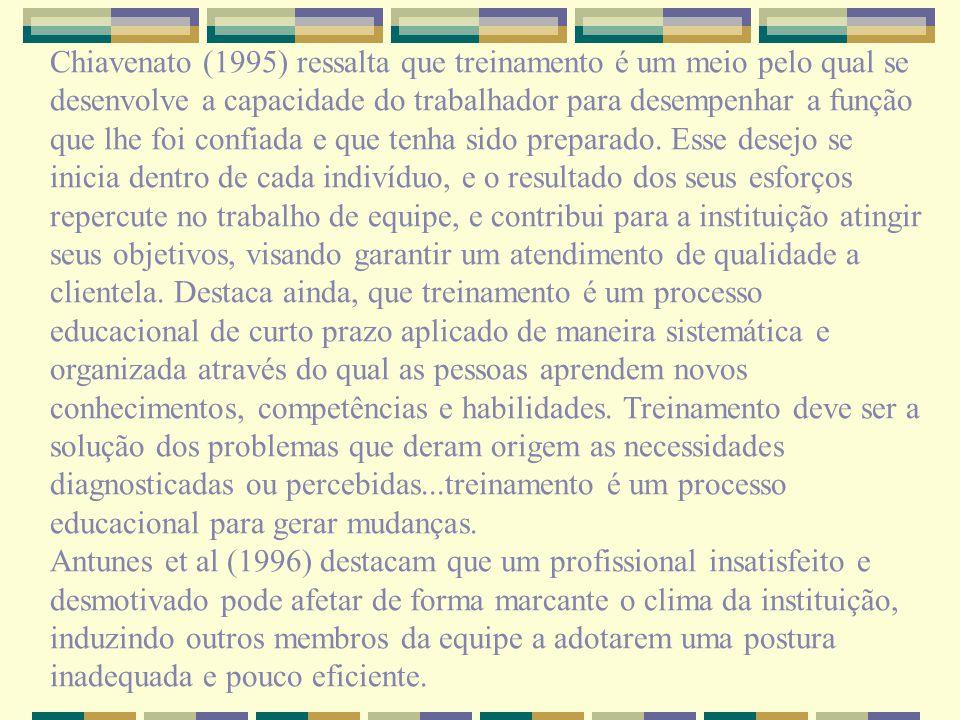 Chiavenato (1995) ressalta que treinamento é um meio pelo qual se desenvolve a capacidade do trabalhador para desempenhar a função que lhe foi confiad