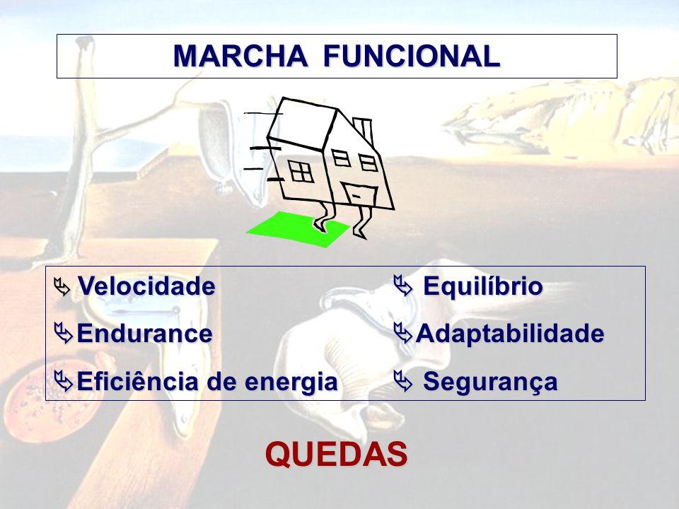 MARCHA FUNCIONAL  Velocidade  Equilíbrio  Endurance  Adaptabilidade  Eficiência de energia  Segurança QUEDAS