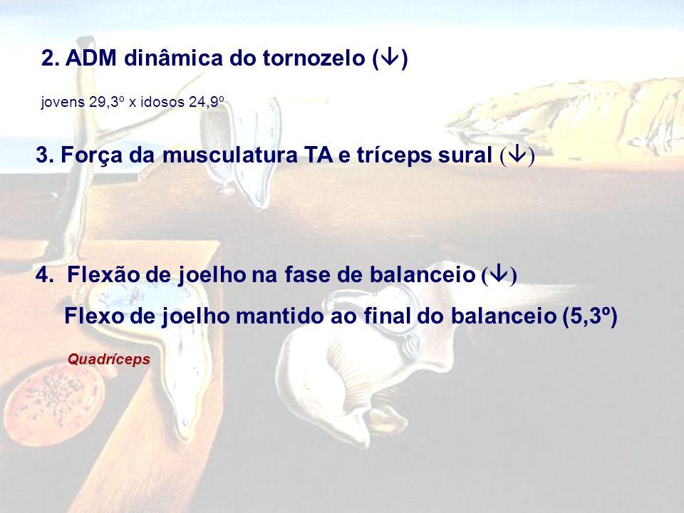 2. ADM dinâmica do tornozelo (  ) jovens 29,3º x idosos 24,9º 3. Força da musculatura TA e tríceps sural (  ) 4. Flexão de joelho na fase de balance