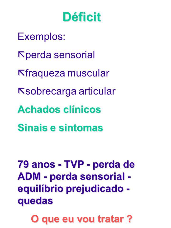 Déficit Exemplos: ã perda sensorial ã fraqueza muscular ã sobrecarga articular Achados clínicos Sinais e sintomas 79 anos - TVP - perda de ADM - perda