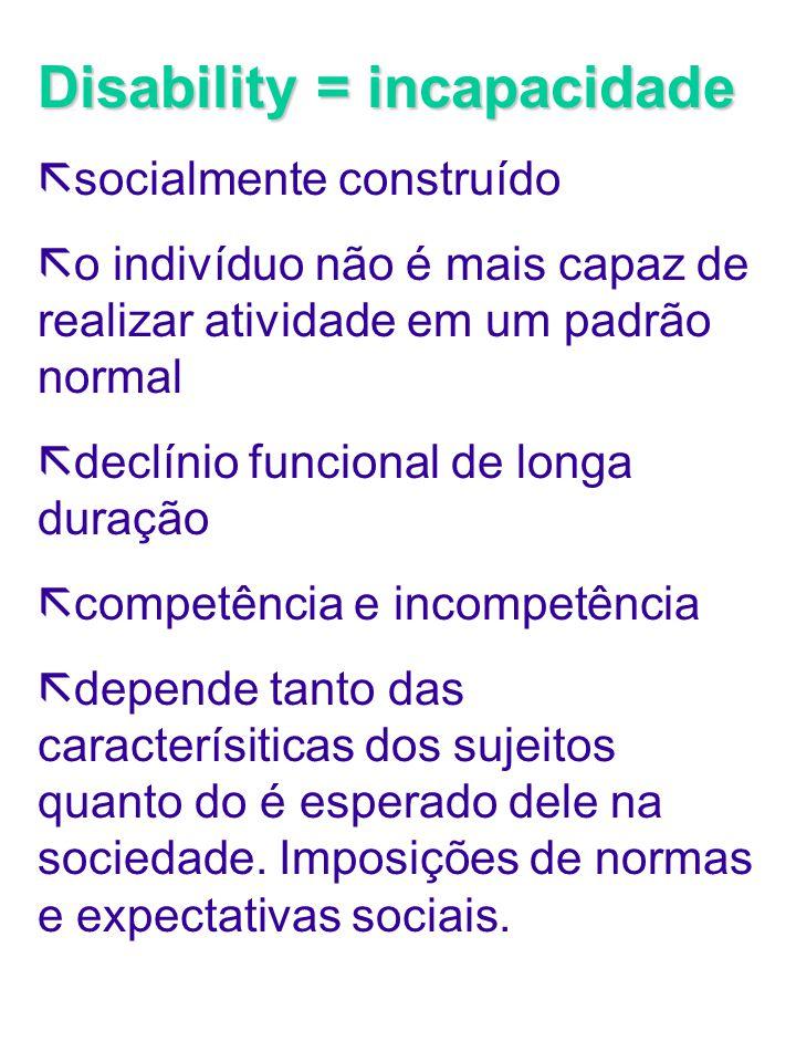 Disability = incapacidade ã socialmente construído ã o indivíduo não é mais capaz de realizar atividade em um padrão normal ã declínio funcional de lo