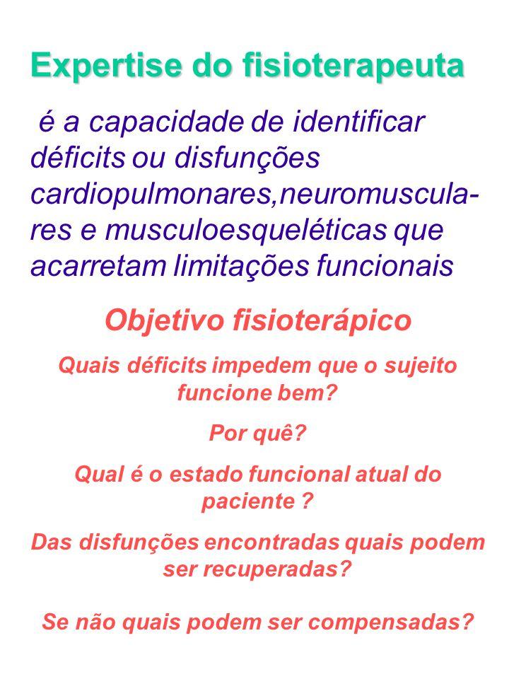 Expertise do fisioterapeuta é a capacidade de identificar déficits ou disfunções cardiopulmonares,neuromuscula- res e musculoesqueléticas que acarreta