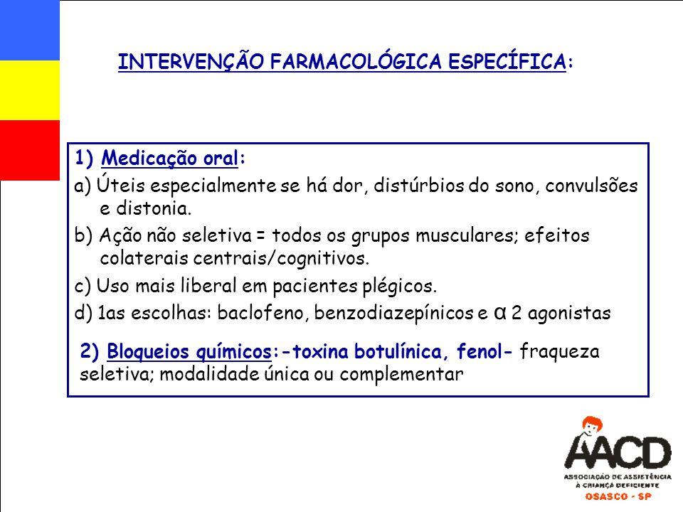 INTERVENÇÃO FARMACOLÓGICA ESPECÍFICA: 1) Medicação oral: a) Úteis especialmente se há dor, distúrbios do sono, convulsões e distonia. b) Ação não sele