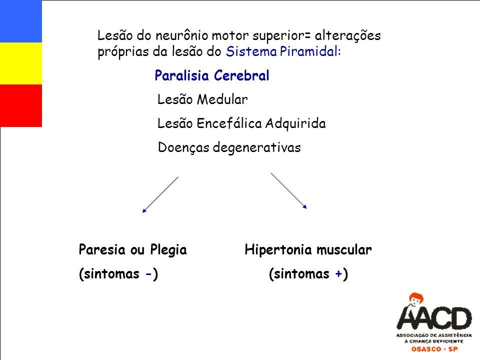 Lesão do neurônio motor superior= alterações próprias da lesão do Sistema Piramidal: Paralisia Cerebral Lesão Medular Lesão Encefálica Adquirida Doenç