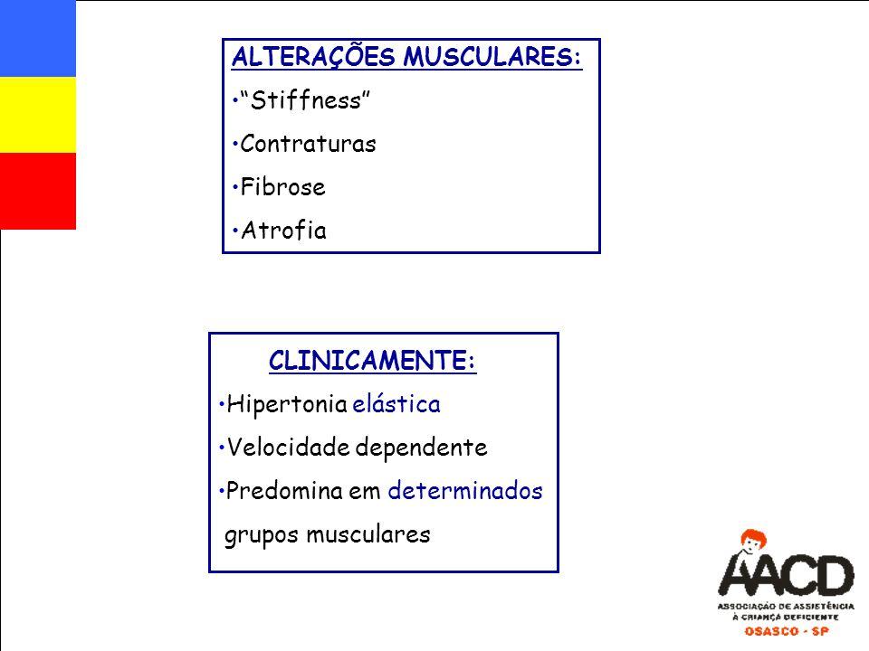 """CLINICAMENTE: Hipertonia elástica Velocidade dependente Predomina em determinados grupos musculares ALTERAÇÕES MUSCULARES: """"Stiffness"""" Contraturas Fib"""