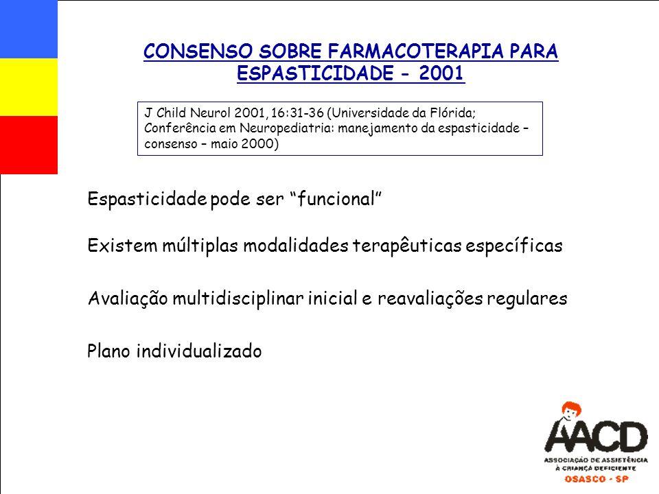 """CONSENSO SOBRE FARMACOTERAPIA PARA ESPASTICIDADE - 2001 Espasticidade pode ser """"funcional"""" J Child Neurol 2001, 16:31-36 (Universidade da Flórida; Con"""