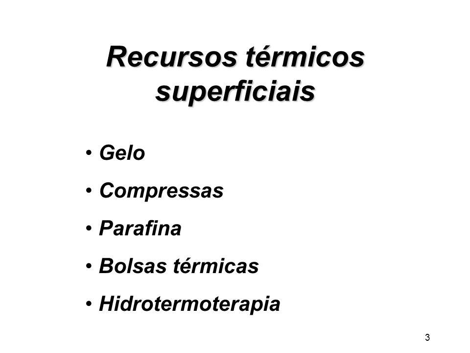 3 Recursos térmicos superficiais Gelo Compressas Parafina Bolsas térmicas Hidrotermoterapia