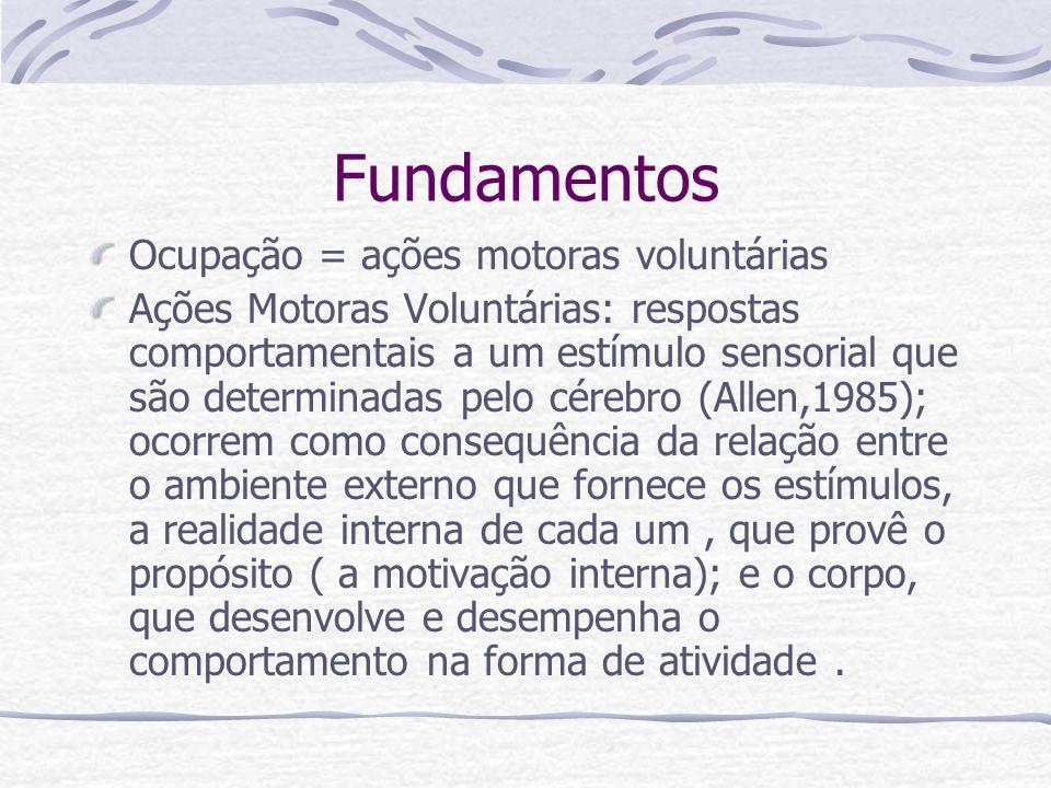 Fundamentos Ocupação = ações motoras voluntárias Ações Motoras Voluntárias: respostas comportamentais a um estímulo sensorial que são determinadas pelo cérebro (Allen,1985); ocorrem como consequência da relação entre o ambiente externo que fornece os estímulos, a realidade interna de cada um, que provê o propósito ( a motivação interna); e o corpo, que desenvolve e desempenha o comportamento na forma de atividade.