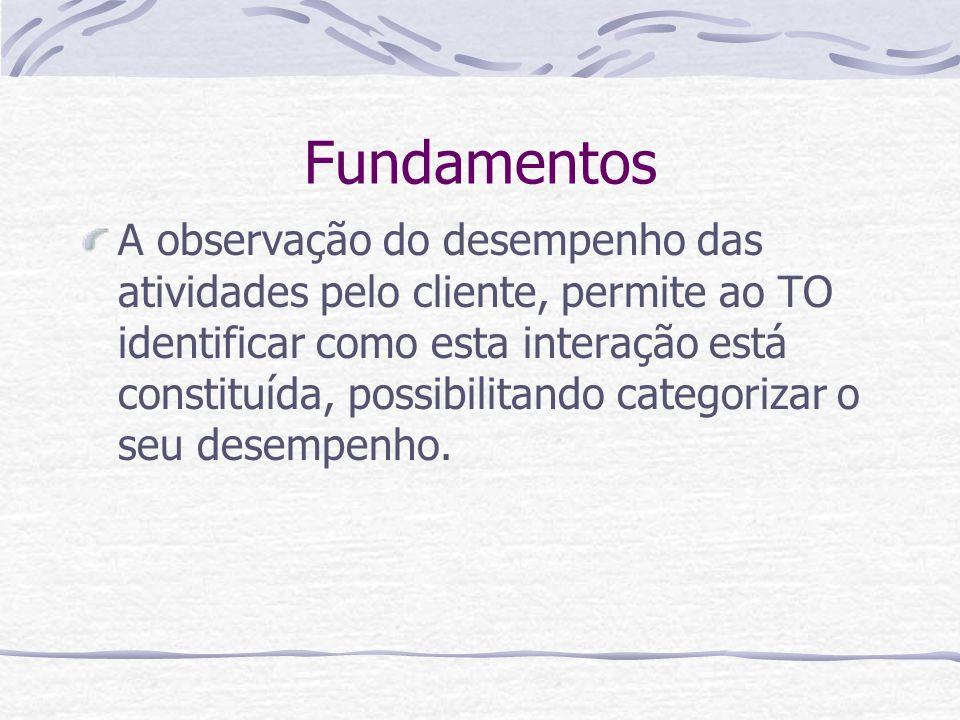 Fundamentos A observação do desempenho das atividades pelo cliente, permite ao TO identificar como esta interação está constituída, possibilitando categorizar o seu desempenho.