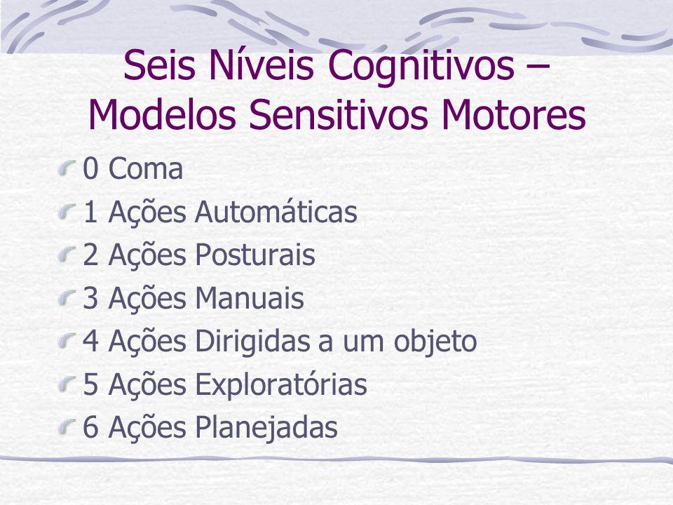Seis Níveis Cognitivos – Modelos Sensitivos Motores 0 Coma 1 Ações Automáticas 2 Ações Posturais 3 Ações Manuais 4 Ações Dirigidas a um objeto 5 Ações Exploratórias 6 Ações Planejadas
