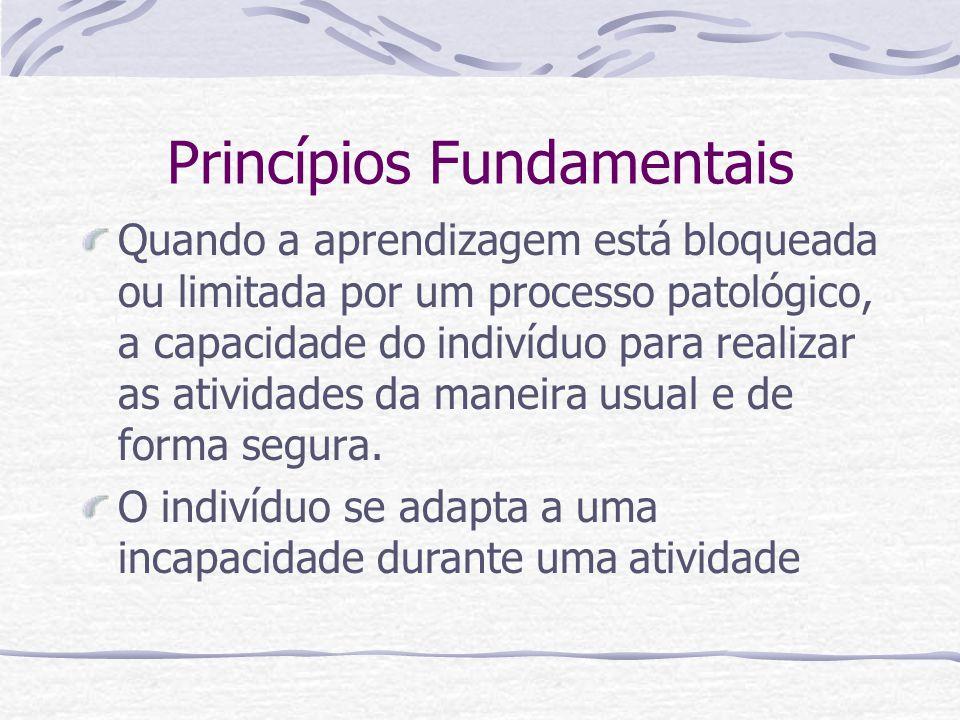 Princípios Fundamentais Quando a aprendizagem está bloqueada ou limitada por um processo patológico, a capacidade do indivíduo para realizar as atividades da maneira usual e de forma segura.