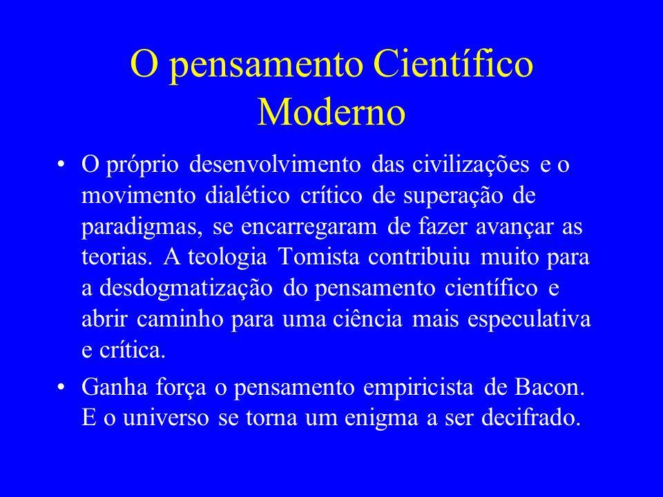 O pensamento Científico Moderno O próprio desenvolvimento das civilizações e o movimento dialético crítico de superação de paradigmas, se encarregaram