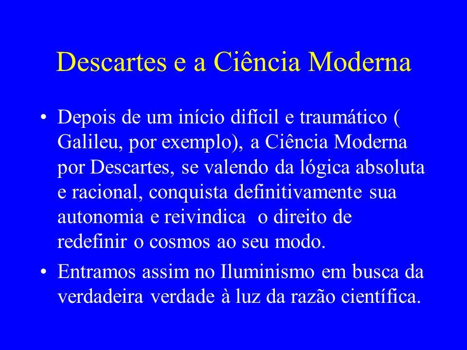 Descartes e a Ciência Moderna Depois de um início difícil e traumático ( Galileu, por exemplo), a Ciência Moderna por Descartes, se valendo da lógica