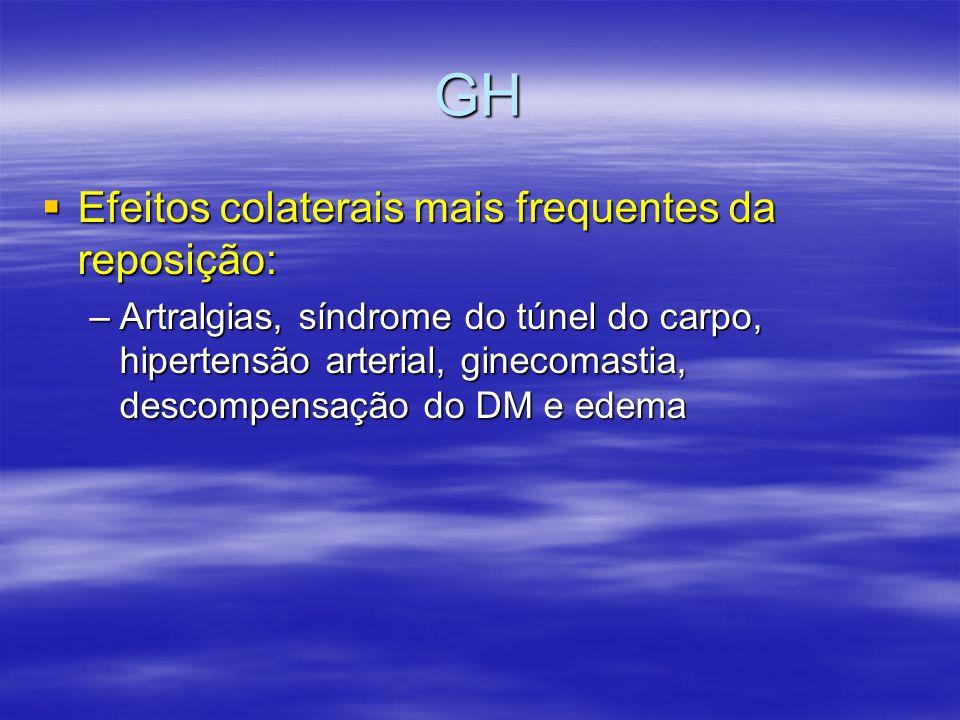 GH  Efeitos colaterais mais frequentes da reposição: –Artralgias, síndrome do túnel do carpo, hipertensão arterial, ginecomastia, descompensação do D